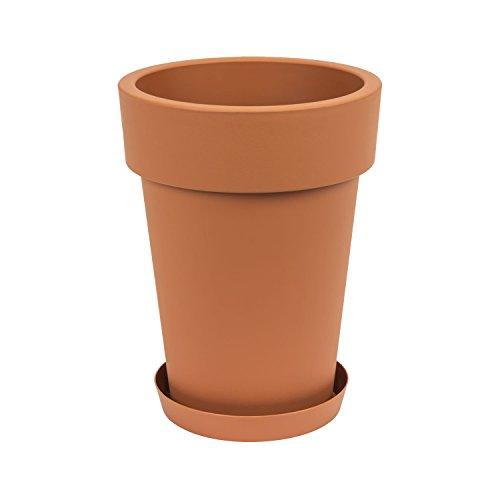 Pot de fleur Lofly Slim avec soucoupe, 40 cm haut. en terre cuite
