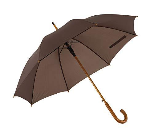Automatik Regenschirm Holzschirm Stockschirm Portierschirm mit gebogenem Rundhaken Holzgriff in 103 cm Durchmesser von notrash2003 (Dunkelbraun)