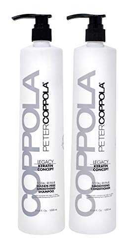 Peter Coppola Total Repair Shampoo & Conditioner, 33.8 oz 2 pack, Color-Safe, Sodium Chloride-Free Sulfate-Free Shampoo for Color Treated Hair and Smoothing Conditioner – Keratin Treatment Aftercare