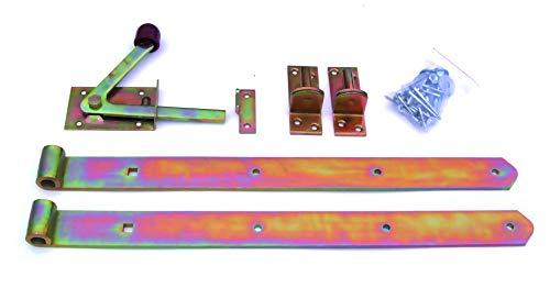Zauntür Beschlagsortiment mit Stützhaken, Ladenbändern & Gartentorfalle, gelb verzinkt