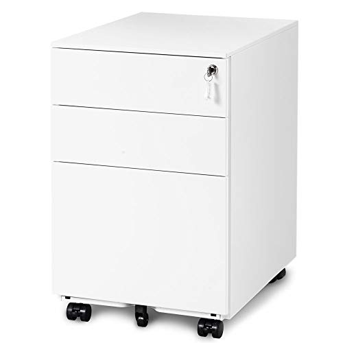 Merax 3-Drawer Mobile File Cabinet Filing Pedestal Metal Solid Mobile with Keys, Fully Assembled Except Casters (White_B)