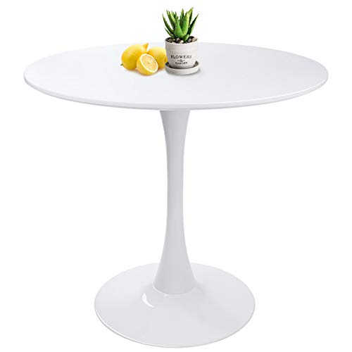HAYOSNFO Modern Round Dining Table with Pedestal Base in White, Mid-Century Tulip Pedestal Leisure Table