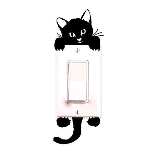 Demarkt Adhesivo decorativo para pared con diseño de gato para habitación de niños, 7 cm x 17 cm