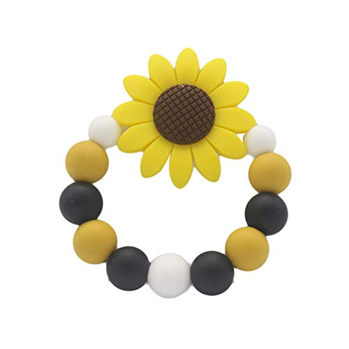 Anniston Baby Accessories, Colorful Beads Sunflower Bracelet Soft Silicone Baby Teether Chew Teething Toy Perfect Fun time Play Activity for Infants & Toddlers, Yellow