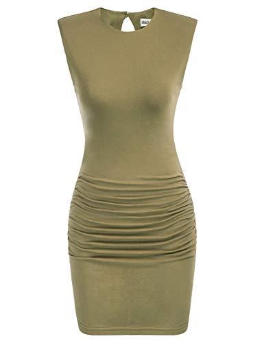 GRACE KARIN Damen Ärmelloses Schulterpolster Rundhalsausschnitt Gerafftes Mini Bodycon Kleid - Grün - Groß