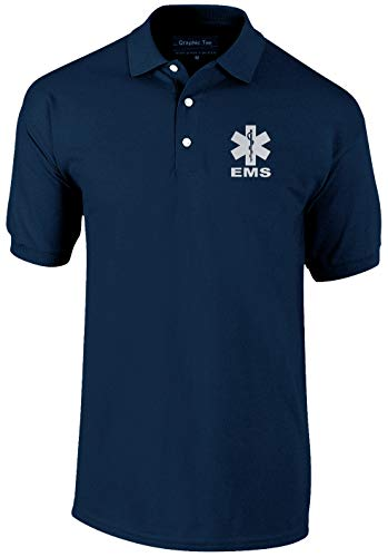 Smart People Clothing EMS Navy Polo Reflective Design, 100% Cotton Polo Pique Fabric. First Responder(X-Large)