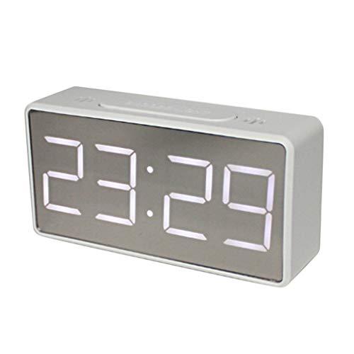 FLAMEER LED Digital Wecker Digitalwecker Digitaluhr Tischuhr mit Große Ziffern Display, Lauter Alarm, Thermometer und Schlummerfunktion - Weiß