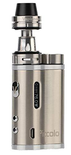 Vapioneer® Piccolo | E-Zigarette 5-76 Watt | E-Shisha mit 2ml Tankinhalt für Liquid | Dampfer mit 18650 Batterie (Silber/Eisen) | Ohne Nikotin