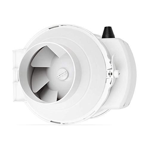 calimaero califlow 125 mm Professional Inline Rohrventilator 280m²/h 140 Pa 36 W Zuluft Abluft Kunststoff Abluftventilator mit Stecker
