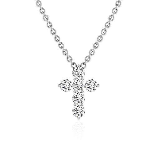 0,54 ct Runde IGI zertifizierte Diamant Kreuz Anhänger, Minimal Gold Kette Frauen Jahrestag Religiöse Halskette, Mutter Geburtstag Jahrestag Charm Anhänger, 18K Weißes Gold Mit Kette