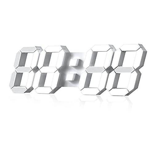 Reloj de Pared Digital Led 3D Despertador Grande Luz de Noche Brillo Ajustable 12/24 Horas Pantalla de Fecha/Temperatura para Cocina Salon Comedor de Estar Blanco 38.4cm con Control Remoto