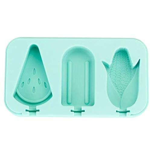 Yardwe Silikon Eis Am Stiel Formen Eis Pop Formen 3 Hohlräume Hausgemachte Eisform Früchte für DIY Eis Stil 2