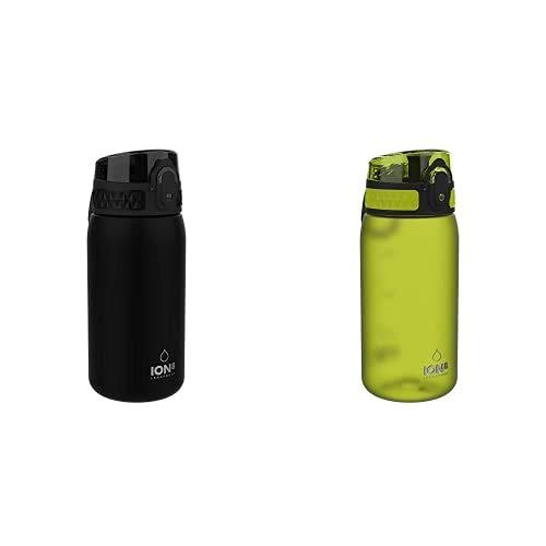 ion8 Leak Proof BPA Free, Botella de agua, sin BPS, a pueba de fugas, Negro (Solid Carbon), 350 ml + Leak Proof BPA Free, Botella de agua, sin BPS, a pueba de fugas, Verde (Frosted Green), 350 ml