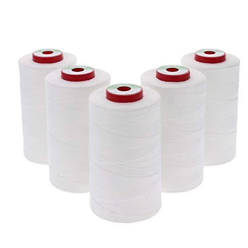 sewfil dacor 120 - Lot de 5 cônes de Fil à Coudre Polyester (5 x 5.000 mètres) - Blanc