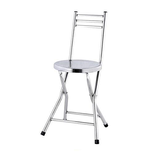 QIDI Chaise Pliante , Petit Banc St Tabouret de Dossier Chair Chaise de Salle à Manger Steel Acier Inoxydable , Simple Moderne Facile à Transporter (Couleur : Silver)