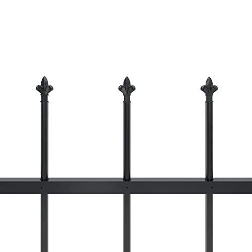 Tidyard Dekorativer Gartenzaun Zaun Schmuckzaun Metallzaun Mit Speerspitzen,Zaun-Sets Gitterzaun Stahlzaun Zaunfeld Palisadenzaun Tor Mit Zaunelementen und Pfosten,Höhe Zaunelement:80 cm,Schwarz