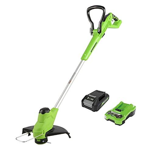 Greenworks Tools Débroussailleuses Electrique Tondeuse à Gazon sans Fil 24 V, 2,0 Ah, PowerShare 2 en 1 avec Batterie et Chargeur, 28cm