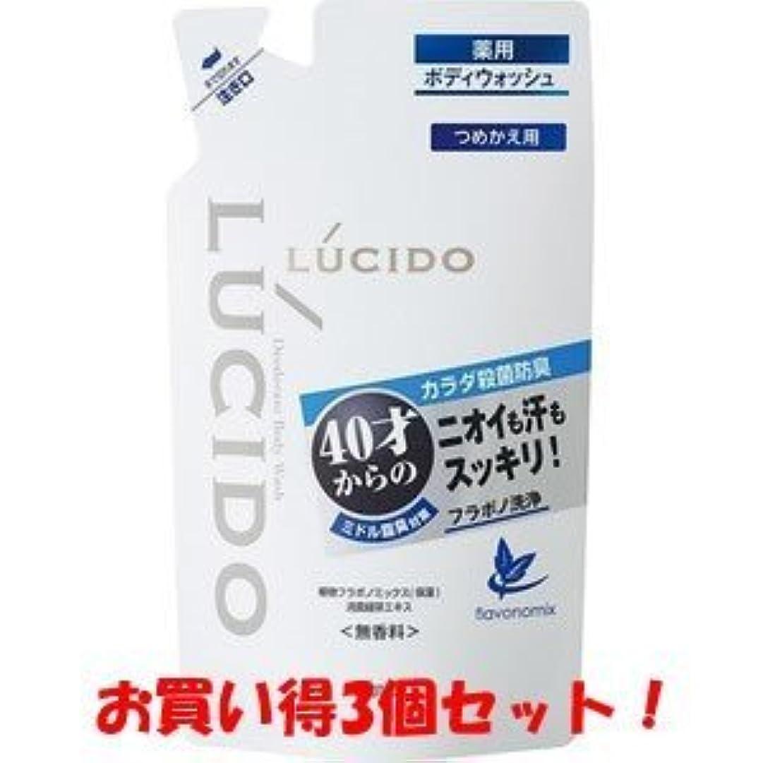 後方に口径機密【LUCIDO】ルシード 薬用デオドラントボディウォッシュ つめかえ用 380ml(医薬部外品)(お買い得3個セット)