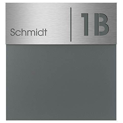 Moderner Briefkasten basalt-grau (RAL 7012) MOCAVI Box 570 Postkasten mit Hausnummer und Name Gravur Edelstahl V4A wetterfest rostfrei groß DIN A4 deutsche Markenqualität