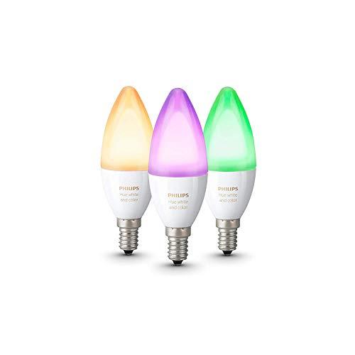Philips Hue White and Color Ambiance - Pack de 3 bombillas LED E14, 6.5 W, iluminación inteligente, bombillas, cambian de color (compatible con Amazon Alexa, Apple HomeKit y Google Assistant)
