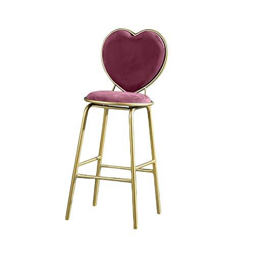 QWEA Taburetes de Bar, Taburete Alto de Bar Moderno con Respaldo cómodo en Forma de corazón, cojín de Espuma Engrosada y reposapiés de conveniencia, Altura del Asiento de 65 cm (Color: Rosa)
