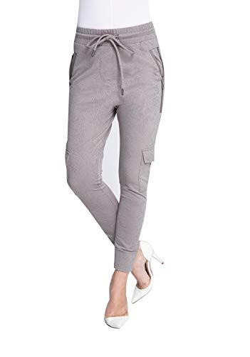 Zhrill Damen Joggpant Stoffhose mit Cargotaschen Anzugshose Tapered Cropped Slim Fit Fabiana, Größe:L, Farbe:N2025 - Taupe