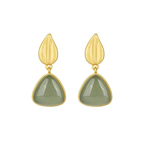 S925 / 925 Sterling Silver Gold-Plated Gemstone Crystal Earrings, High-End Elegant Ladies Jade Earrings, Perfect Holiday Gifts For Ladies, Low Strain And Nickel-Free Pendant Earrings C8426QY