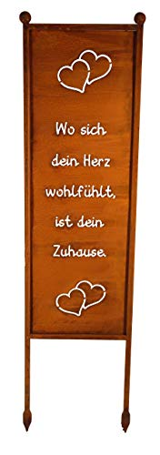 Bornhöft Schild/Spruchtafel Gartenschild Edelrost Rost zum Einstecken rostige Gartendeko (Wo Sich Dein Herz wohlfühlt ist Dein Zuhause)