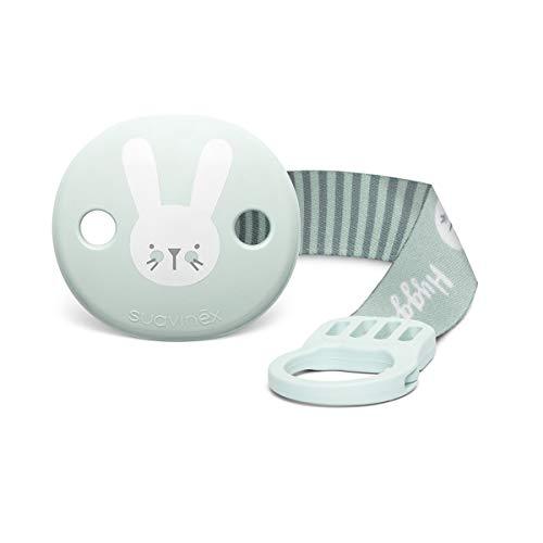 Suavinex - Broche pinza con cinta de chupetes para bebés +0 meses. Broche Pinza Redondo. Con nueva placa más pequeña. 0% BPA. Color verde.