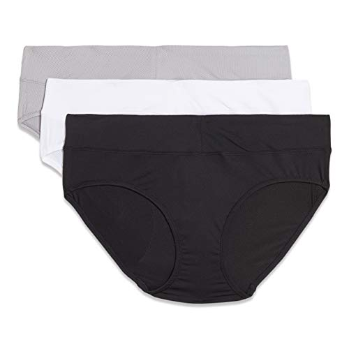 Warner's Women's Blissful Benefits No Muffin Top Breathable Micro Hipster Panties Multipack, BLACK/WHITE/PLATINUM, L