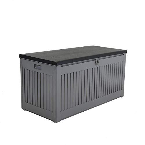 Charles Bentley 270L Outdoor Garden Plastic Storage Box, 109 x 51.3 X 54.7cm, Grey/Black