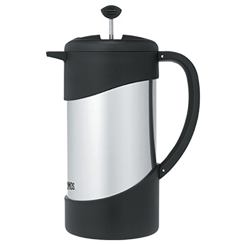 Thermos 34 Ounce Vacuum Insulated Stainless Steel Coffee Press, Stainless with Black Accents
