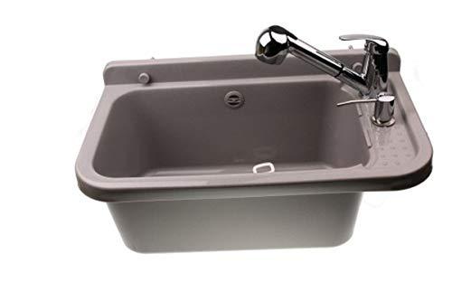 Waschbecken Ausgussbecken Waschtrog mit Armatur und Seifenspender 59 cm x 34 cm x 21 cm Spülbecken mit Überlauf Waschbecken für Gewerbe Waschraum Garten inkl. Ablaufgranitur