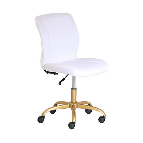 Mainstays White Plush Velvet Office Chair
