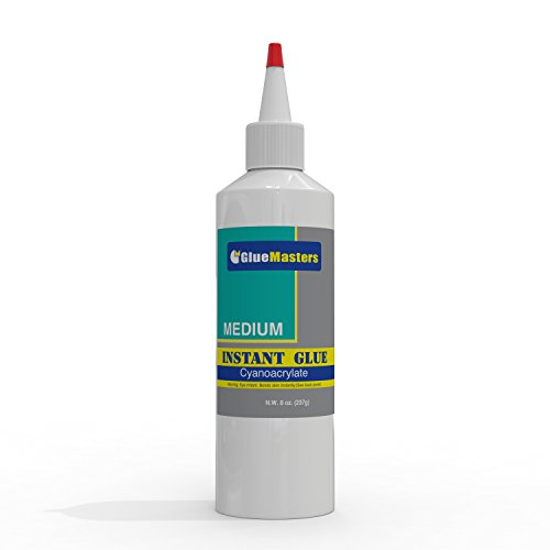 Professional Grade Cyanoacrylate (CA)'Super Glue' by Glue Masters - Extra Large 8 OZ (226-gram) Bottle with Protective Cap - Medium...