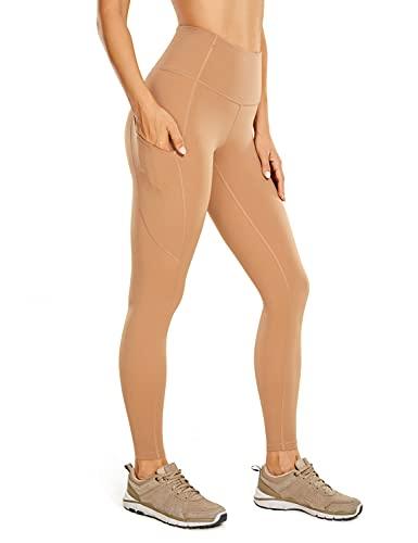 CRZ YOGA Mujer Naked Feeling Leggings Deportivas Cintura Alta Yoga Fitness Pantalones con Bolsillo-63cm Cebada Desnuda 40