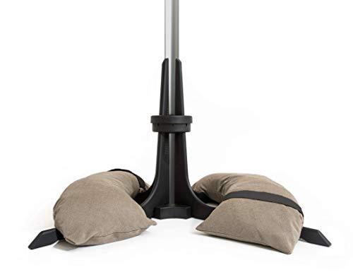 Baser Sonnenschirmständer mit befüllbarer Sandsäcken 30 kg/40 kg/50 kg. Alternativ zum Granit Sonnenschirmständer mit Rollen. Befüllbar Sonnenschirm Schirmständer mit Tragegriff (50 KG, Taupe)