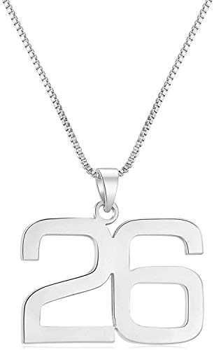 ROWAWA Collar con colgante de número para hombres, collares de béisbol personalizados para niños, collar de plata con números de fútbol