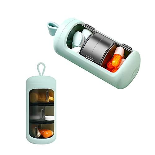 Pastillero, 3 Compartimentos Pequeño Organizador De Medicamentos Para Diario, Portátil Impermeable, Dispensador De Caja Píldoras Para Viaje (Verde)