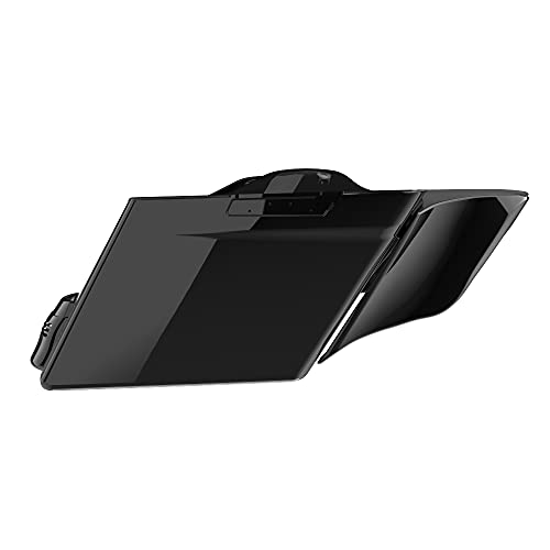 US Stock Moto Onfire Stretched Saddlebags and Fender, 4.5 Extended Bags, Vivid Black, Stretched Side Covers Fit for Harley Touring Road Glide, Street Glide, 2014 2015 2016 2017 2018 2019 2020 2021