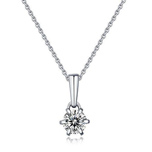 pengge Forever Love 925 Collar De Moissanita De Plata, Collar Colgante Clásico De Moda De Belleza para Regalos del Día De San Valentín para Mujeres, Six Claws
