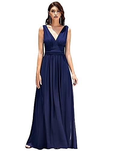 Ever-Pretty A-línea Largo Vestido de Fiesta Corte Imperio Cuello en V sin Mangas para Mujer Azul Marino 36