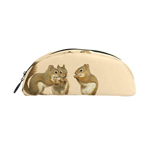 TIZORAX Baby Eekhoorns Delen Zonnebloemen Zaden Op Berk Log Potlood Case Buidelzak briefpapier Pen Case Box Cosmetische Tassen voor tiener Meisjes Jongens Kids
