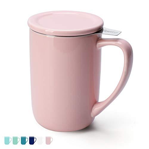 Sweese 203.108 Teetasse mit Deckel und Sieb, Tee tassen Porzellan für Losen Tee Oder Beutel, Rosa, 450 ml
