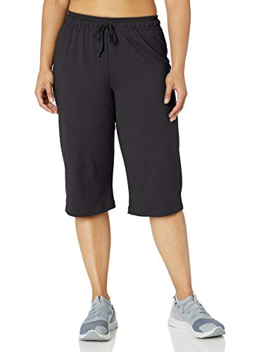 Champion Women's Plus-Size Jersey Capri, Black, 2X
