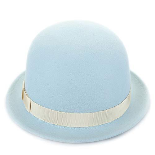 XFGBTJKYUT XFGBTJKYUT Damenhut Wolle Fallen Neue Trend Dome Zylinderhut weibliche Kappe (Color : Blue, Size : M)