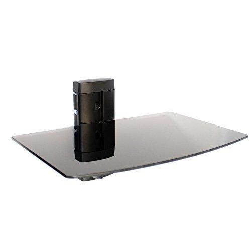 Maison & White Consolle per montaggio a parete con mensola galleggiante in vetro nero temperato   lettori DVD 1 livello