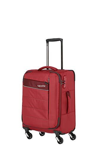 Travelite 4-Rad Weichgepäck Handgepäck Koffer mit TSA Schloss erfüllt IATA-Bordgepäck Maß, Gepäck Serie KITE: Extrem leichter Trolley im sportlichen Design, 089947-10, Koffer S (54 cm), 36 Liter, rot
