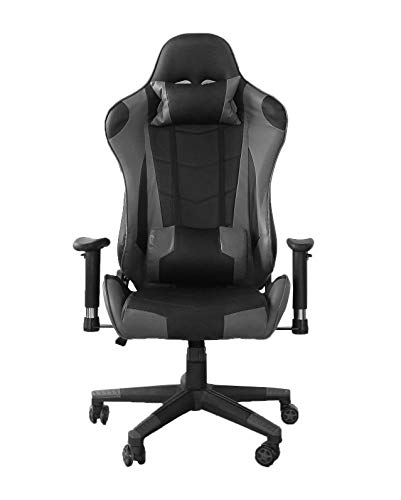 YJCFurniture Gaming Chair Racing Office Computer Game Chair Ergonomic Backrest and Seat Height Adjustment Recliner Swivel Rocker with Headrest and Lumbar Pillow Chair (A-Gray)
