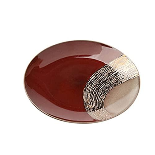 Aiglen Retro Keramikgeschirr Dinner Platte Retro Geschirr Western Stil Steak Kuchen Obst Brotplatte Haushalt Geschirr Set (Size : 27.3 * 28)